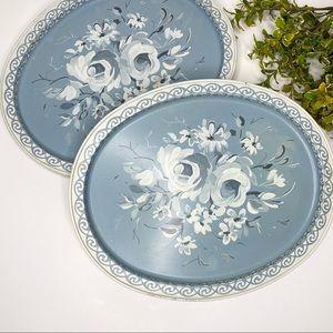 Vintage 50s Floral Tin Serving Tray Set